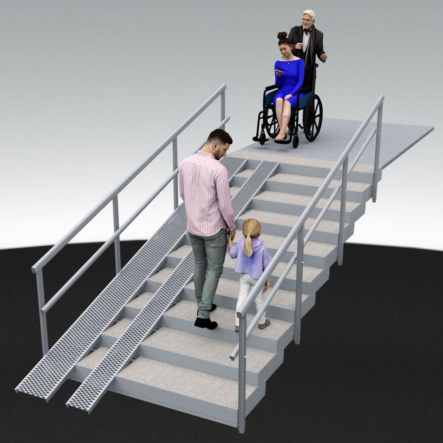 Alukehysportaat 10 askelmaa, alumiininen luiska/ramppi. 200 cm joka jakaantuu 120-80cm portaalle ja luiskalle. Yleiskuva.